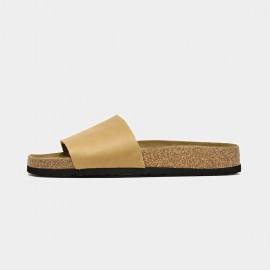 Beau Leather Wide Band Apricot Slippers (34009)