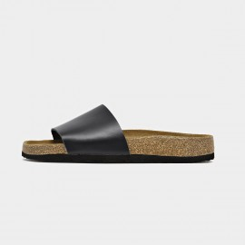 Beau Leather Wide Band Black Slippers (34009)