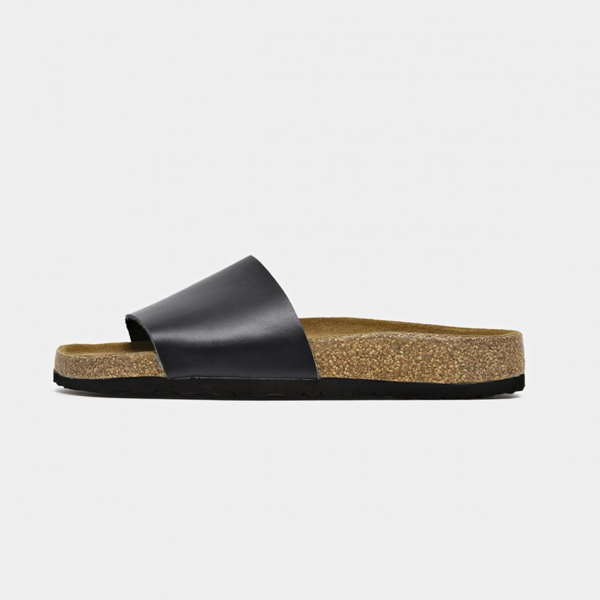 Buy Beau Leather Wide Band Black Slippers online, shop Beau with free shipping