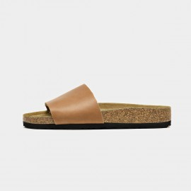 Beau Leather Wide Band Brown Slippers (34009)