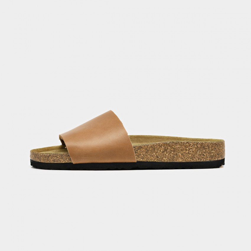 Buy Beau Leather Wide Band Brown Slippers online, shop Beau with free shipping