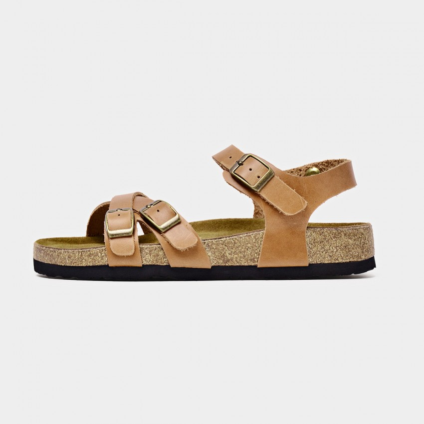 Buy Beau Cross Strap Triple Buckle Brown Sandals online, shop Beau with free shipping