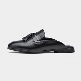 Beau Tassel Leather Black Slippers (35037)