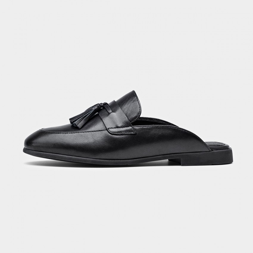 Buy Beau Tassel Leather Black Slippers online, shop Beau with free shipping
