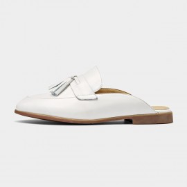 Beau Tassel Leather White Slippers (35037)