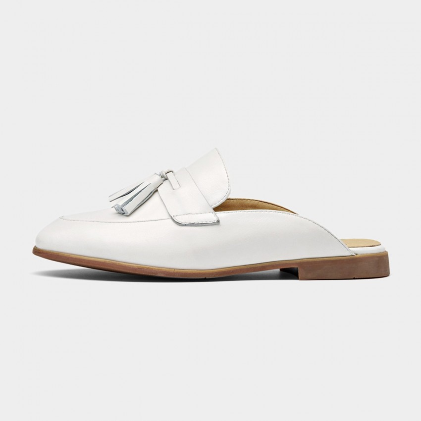 Buy Beau Tassel Leather White Slippers online, shop Beau with free shipping