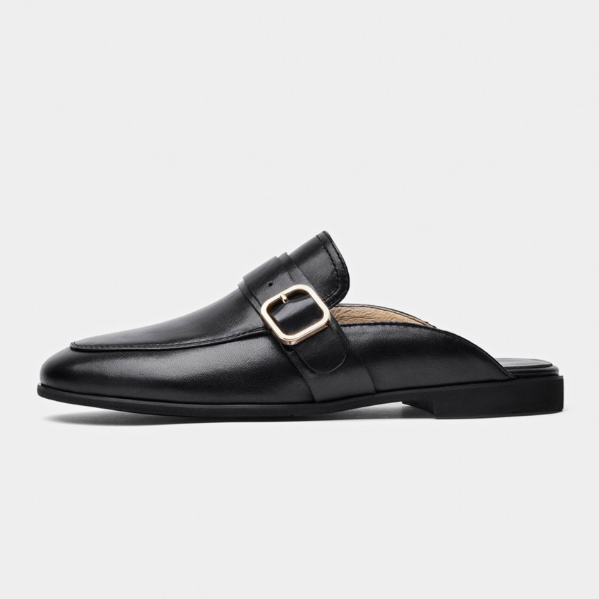 Buy Beau Buckle Leather White Slippers online, shop Beau with free shipping