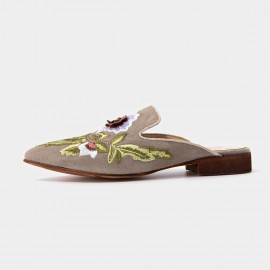Beau Floral Embrioidery Suede Beige Slippers (36026)