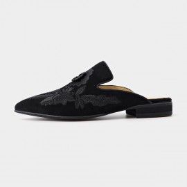 Beau Floral Embrioidery Suede Black Slippers (36026)