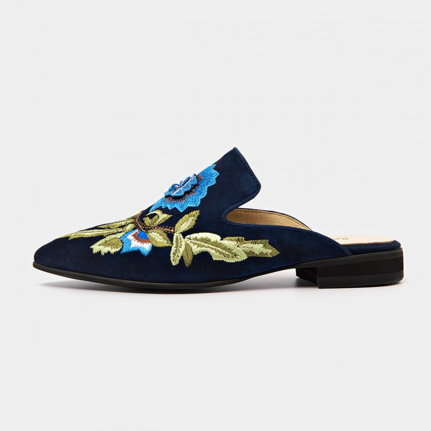 Buy Beau Floral Embrioidery Suede Blue Slippers online, shop Beau with free shipping