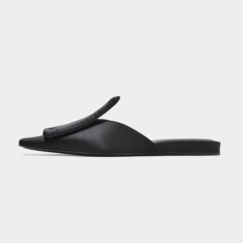 Buy Beau Rectangular Top Stitch Piece Silk Black Slippers online, shop Beau with free shipping