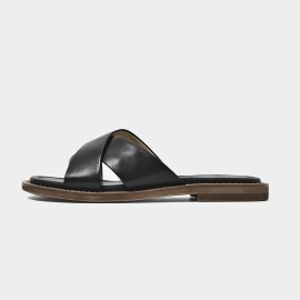 Beau Leather Cross Strap Black Slippers (36043)
