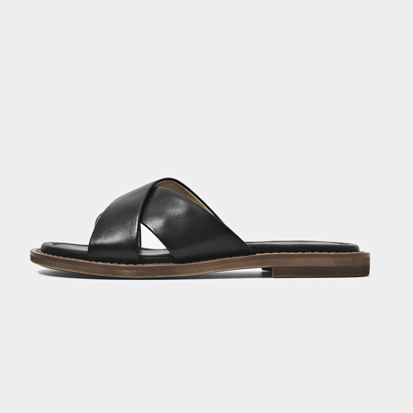 Buy Beau Leather Cross Strap Black Slippers online, shop Beau with free shipping