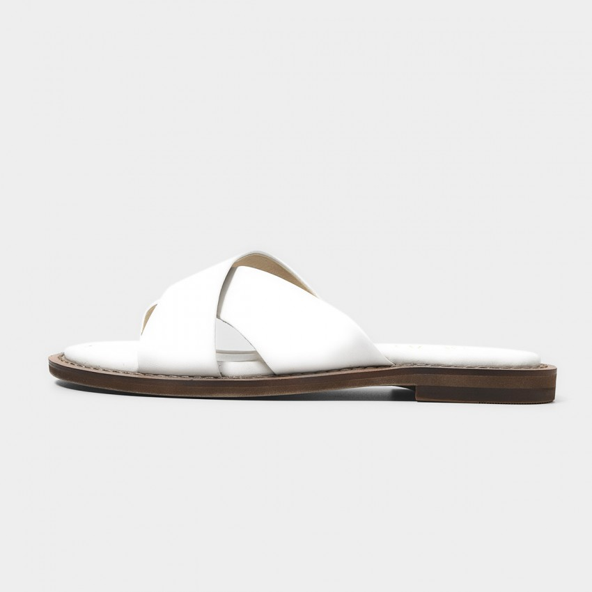 Buy Beau Leather Cross Strap White Slippers online, shop Beau with free shipping