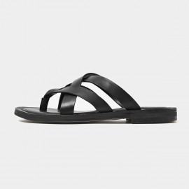 Beau Leather Triple Cross Strap Black Slippers (36049)