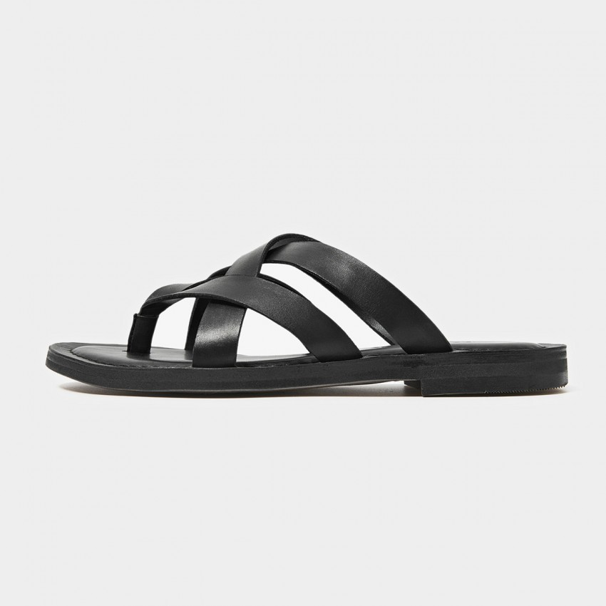 Buy Beau Leather Triple Cross Strap Black Slippers online, shop Beau with free shipping