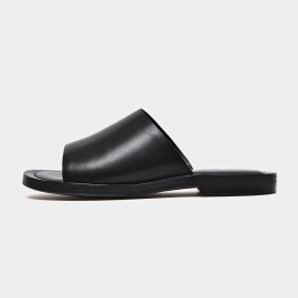 Beau Leather Open Toe Black Slippers (36050)