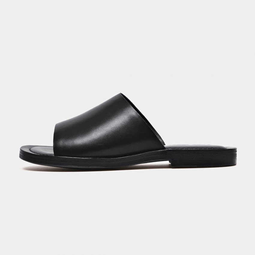 Buy Beau Leather Open Toe Black Slippers online, shop Beau with free shipping