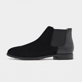 Beau Two Tone Elastic Suede Black Boots (03112A)