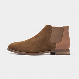 Beau Two Tone Elastic Suede Brown Boots (03112A)