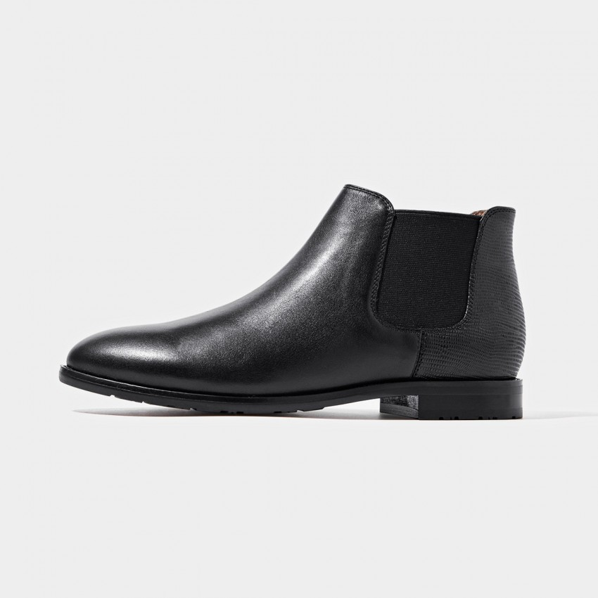 Buy Beau Two Tone Elastic Leather Black Boots online, shop Beau with free shipping