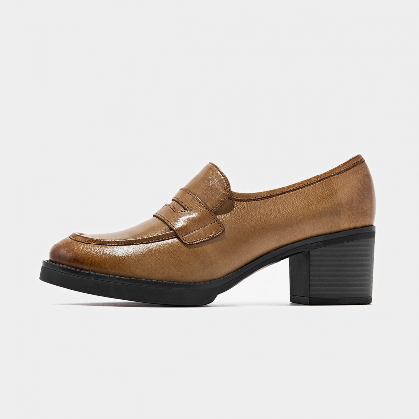Buy Beau Minimalist Chunky Heel Brown Pumps online, shop Beau with free shipping