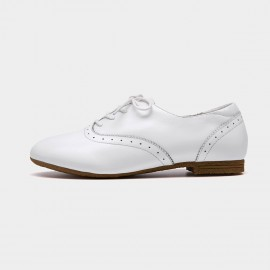 Beau Vintage Round Toe Oxford White Lace Ups (21012P)