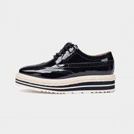 Beau Casual Glossy Oxford Layer Sole Black Lace Ups (21060P)