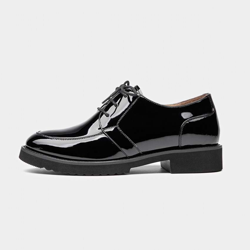 Buy Beau Glossy Plain Leather Black Lace Ups online, shop Beau with free shipping