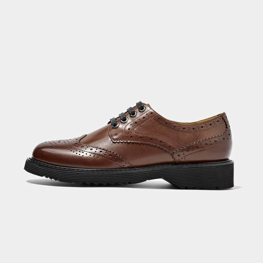 Buy Beau Fully Brogued Leather Brown Lace Ups online, shop Beau with free shipping