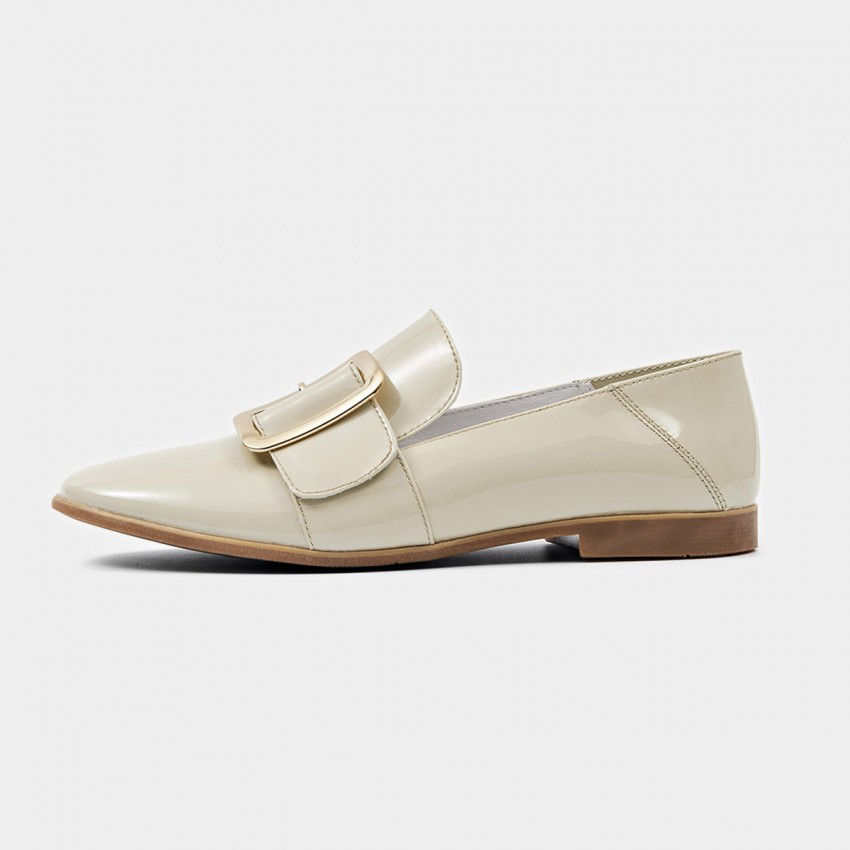 Buy Beau Glossy Chic Buckle Piece Apricot Loafers online, shop Beau with free shipping