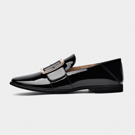 Beau Glossy Chic Buckle Piece Black Loafers (27036P)