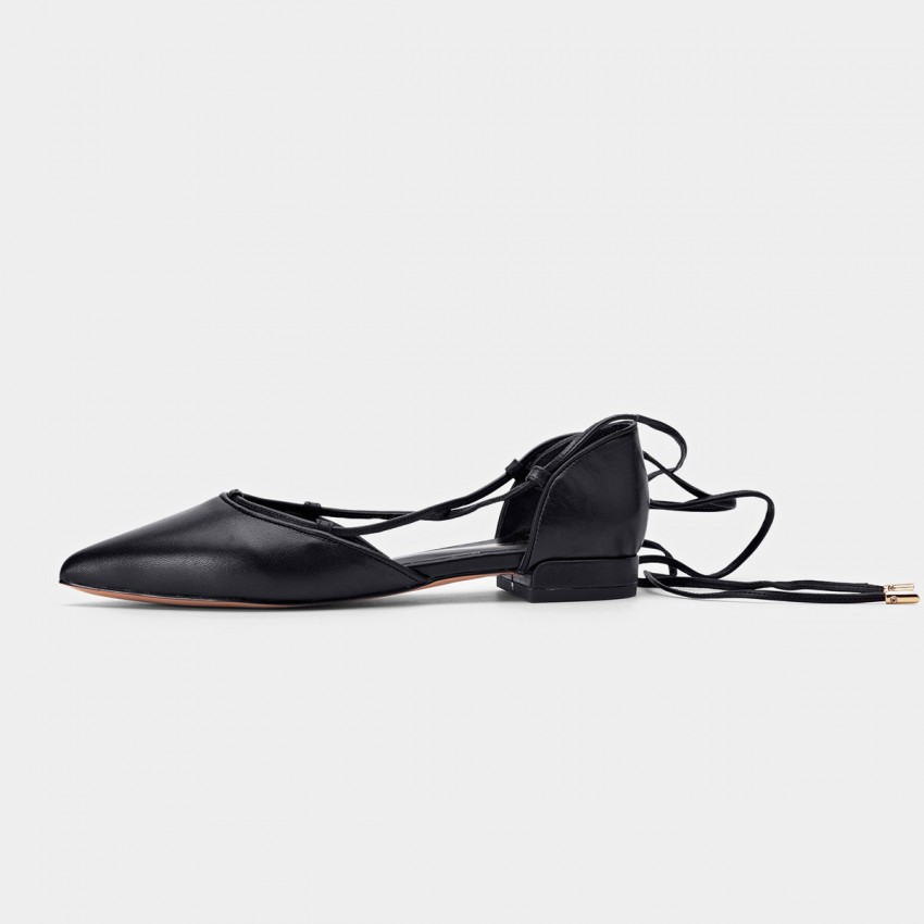 Buy Beau Pointed Toe Ballerina Leather Black Lace Ups online, shop Beau with free shipping