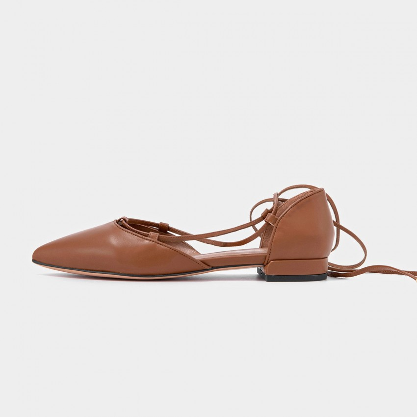 Buy Beau Pointed Toe Ballerina Leather Brown Lace Ups online, shop Beau with free shipping