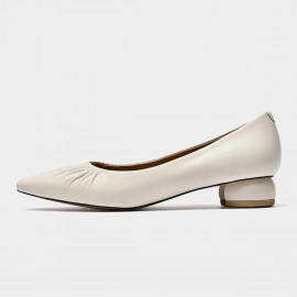 Beau Lambskin Pointed-Toe White Pumps (18014)