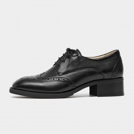 Beau Heeled Oxford Brogued Black Lace Ups (21604)