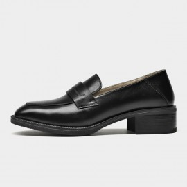 Beau Minimalist Heeled Oxford Black Loafers (21608)
