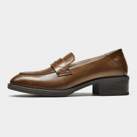 Beau Minimalist Heeled Oxford Brown Loafers (21608)