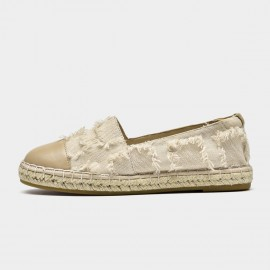 Beau Stylish Ripped Beige Flats (24050)
