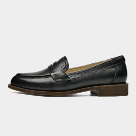 Beau Brogued Woodgrain Heel Pointed-Toe Black Loafers (27112)