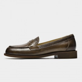 Beau Brogued Woodgrain Heel Pointed-Toe Brown Loafers (27112)