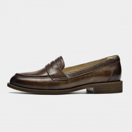 Beau Brogued Woodgrain Heel Pointed-Toe Coffee Loafers (27112)