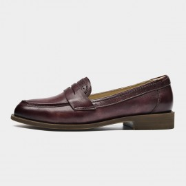Beau Brogued Woodgrain Heel Pointed-Toe Wine Loafers (27112)