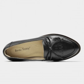 Beau Bow Knot Tassel Woodgrain Heel Black Loafers (27116)