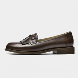 Beau Bow Knot Tassel Woodgrain Heel Brown Loafers (27116)