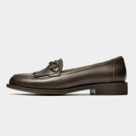Beau Bow Knot Tassel Woodgrain Heel Coffee Loafers (27116)