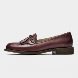 Beau Bow Knot Tassel Woodgrain Heel Wine Loafers (27116)