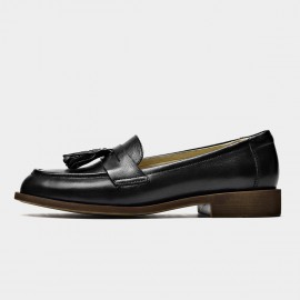 Beau Tassel Woodgrain Heel Black Loafers (27117)