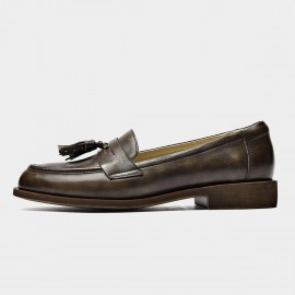 Beau Tassel Woodgrain Heel Brown Loafers (27117)