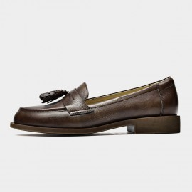 Beau Tassel Woodgrain Heel Coffee Loafers (27117)